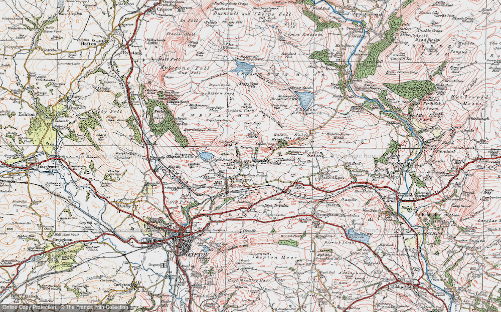 Old Map of Historic Map covering Barden Moor in 1925