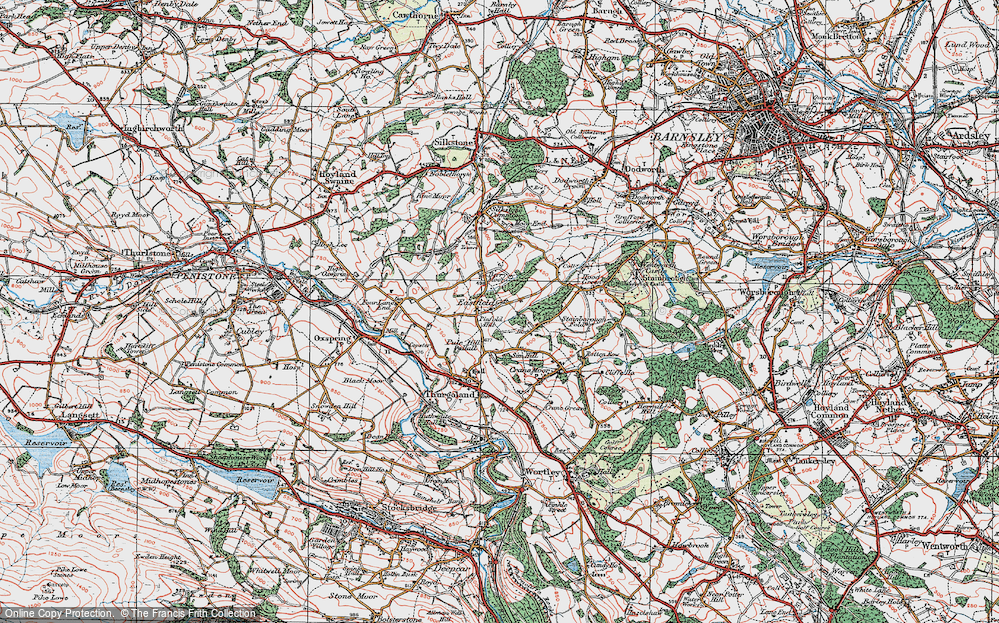 Old Map of Historic Map covering Bagger Wood in 1924