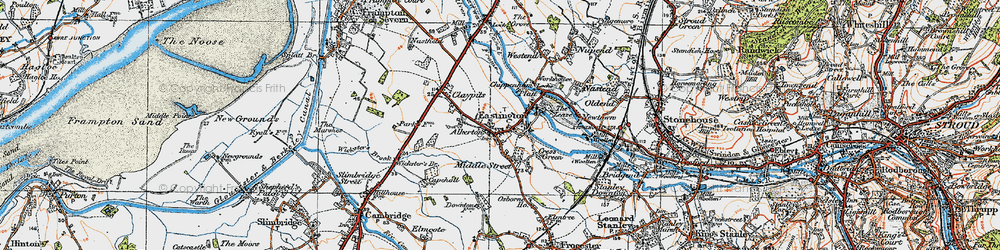 Old map of Eastington in 1919