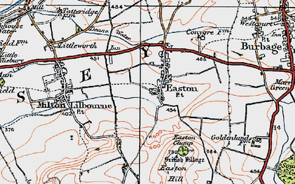 Old map of Easton Royal in 1919