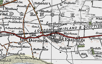 Old map of Westhills Moss in 1925