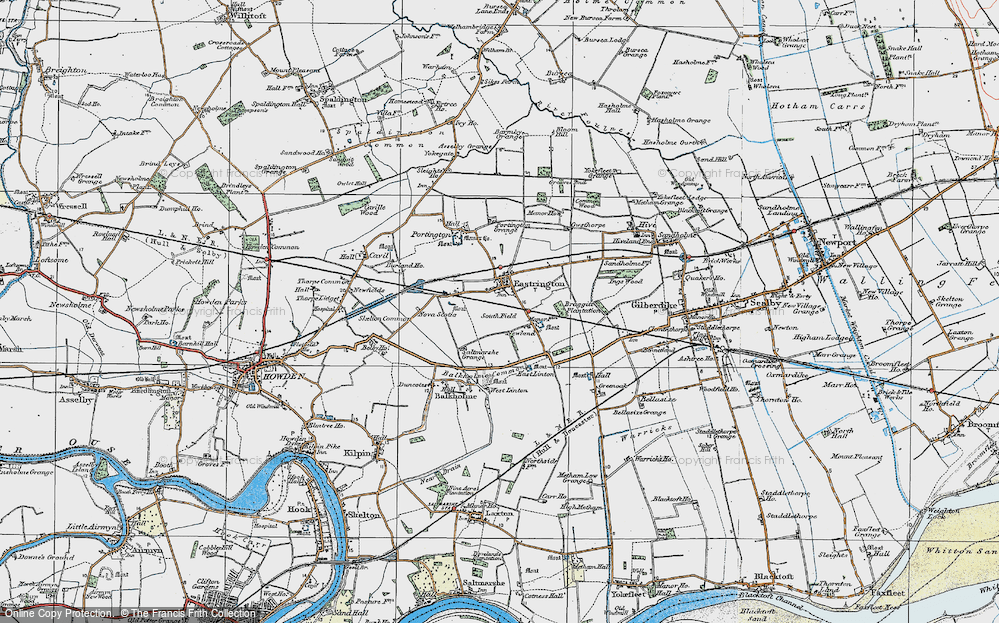 Old Map of Historic Map covering Balkholme Common in 1924