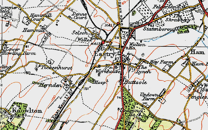 Old map of Eastry in 1920