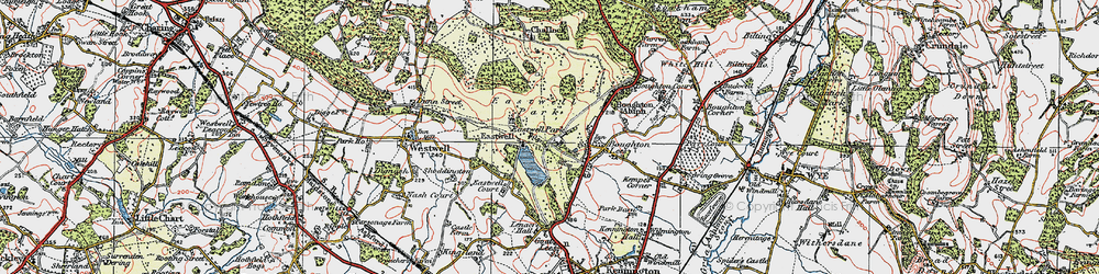 Old map of Eastwell Park in 1921
