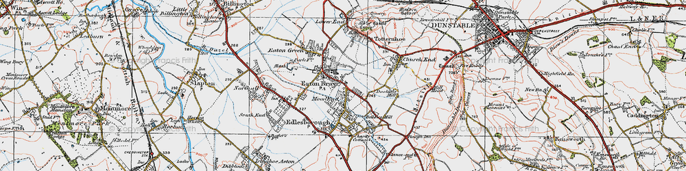 Old map of Eaton Bray in 1920
