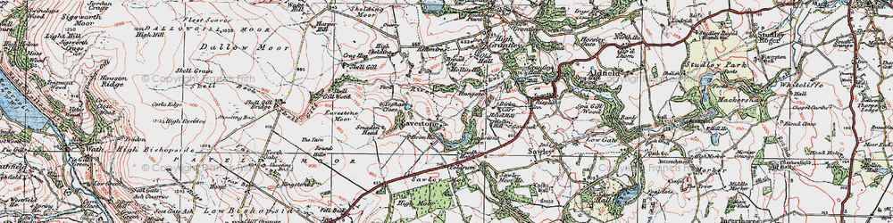 Old map of Yaudhouse Head in 1925