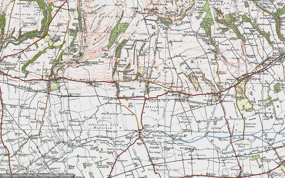 Old Map of Historic Map covering Allerston Partings in 1925