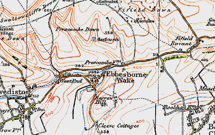 Old map of Ebbesbourne Wake in 1919