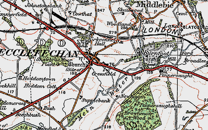 Old map of Ecclefechan in 1925