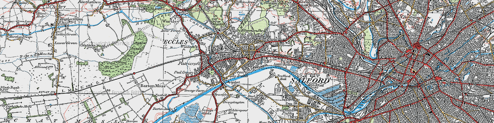 Old map of Eccles in 1924