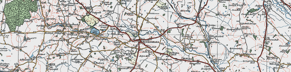 Old map of Eccleshall in 1921