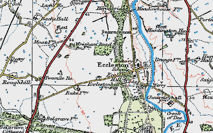 Old map of Eccleston in 1924
