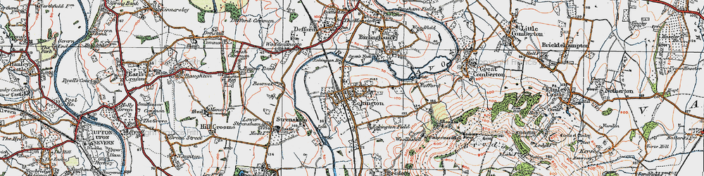 Old map of Eckington in 1919