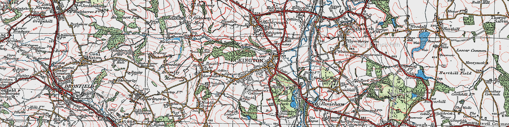 Old map of Eckington in 1923