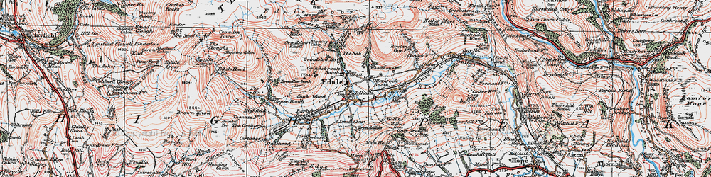 Old map of Edale in 1923