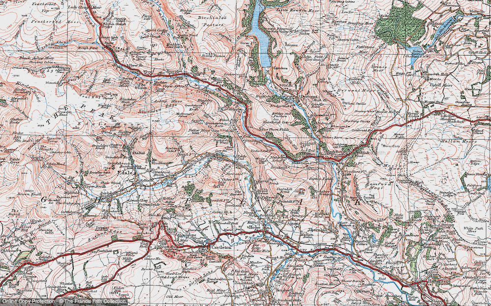 Old Map of Historic Map covering Wooler Knoll in 1923