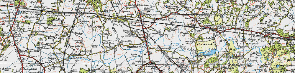 Old map of Edenbridge in 1920