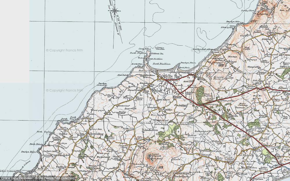 Old Map of Historic Map covering Aber Geirch in 1922