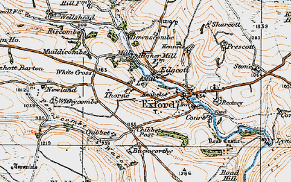 Old map of Allcombe Water in 1919