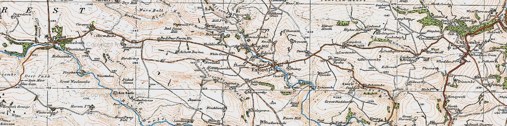 Old map of Almsworthy Common in 1919
