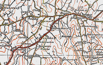 Old map of Edgcumbe in 1919