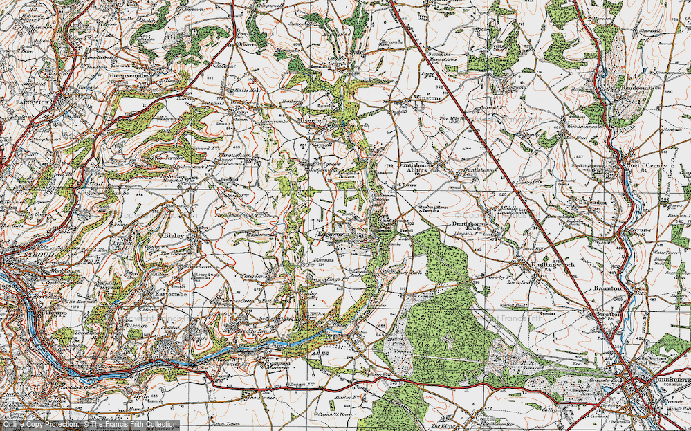 Old Map of Historic Map covering Ashcombe Bottom in 1919