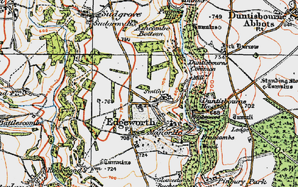 Old map of Ashcombe Bottom in 1919