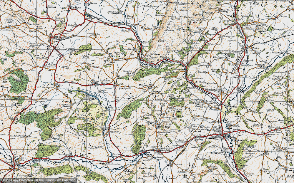 Old Map of Historic Map covering Laplow Bank in 1920