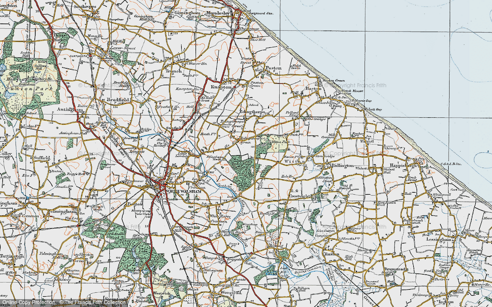 Old Map of Historic Map covering Bacton Wood in 1922