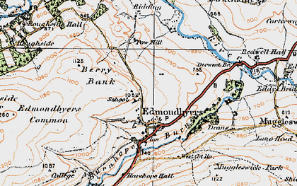 Old map of Edmondbyers in 1925