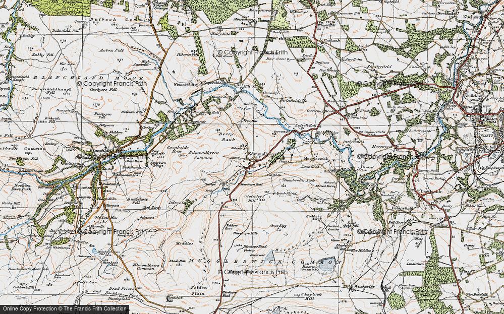 Old Map of Edmundbyers, 1925 in 1925