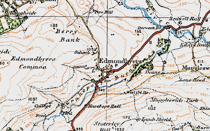 Old map of Edmundbyers in 1925