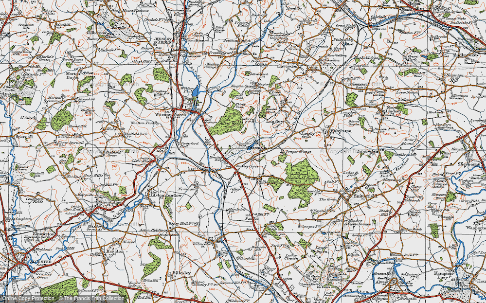 Old Map of Historic Map covering Austy Wood in 1919