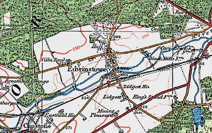 Old map of Edwinstowe in 1923