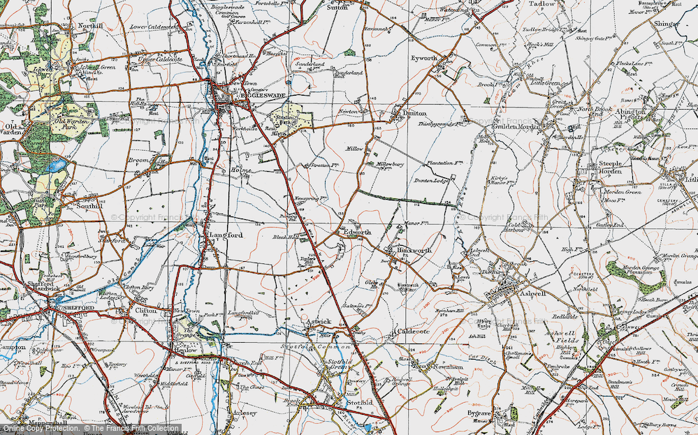 Old Map of Edworth, 1919 in 1919