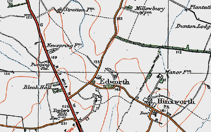 Old map of Edworth in 1919