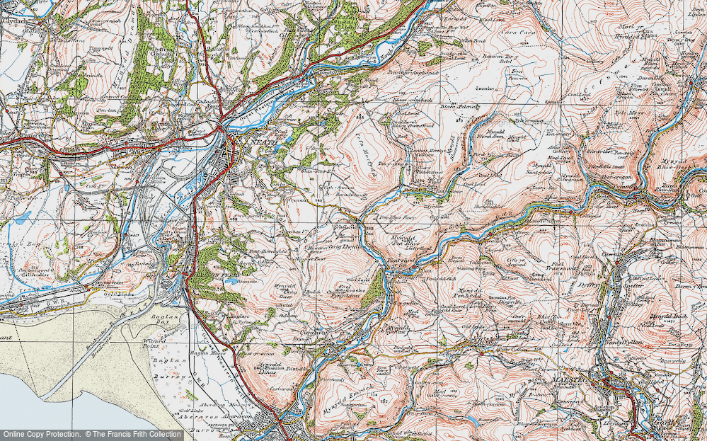 Old Map of Historic Map covering Baradychwallt in 1923