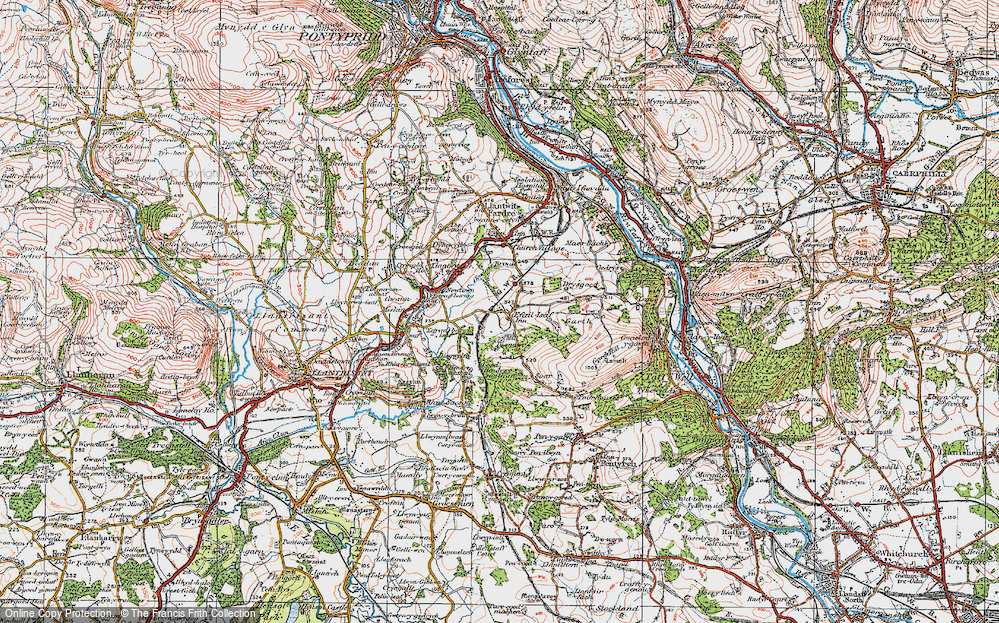Old Map of Efail Isaf, 1922 in 1922