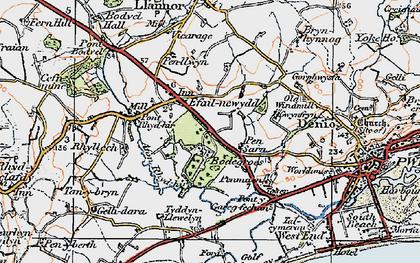 Old map of Afon Rhyd-hir in 1922