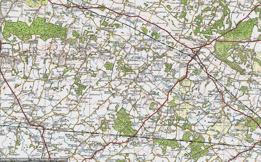 Old Map of Historic Map covering Lark Hill in 1921