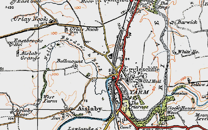 Old map of Egglescliffe in 1925