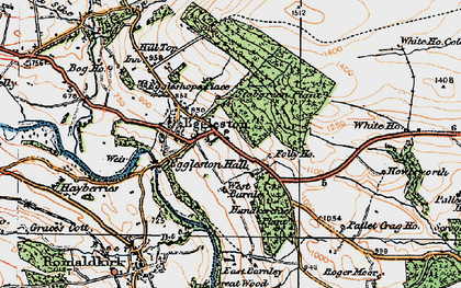 Old map of Eggleston in 1925