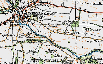 Old map of Egglestone Abbey in 1925