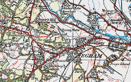 Old map of Egham in 1920