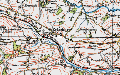 Old map of Egloskerry in 1919