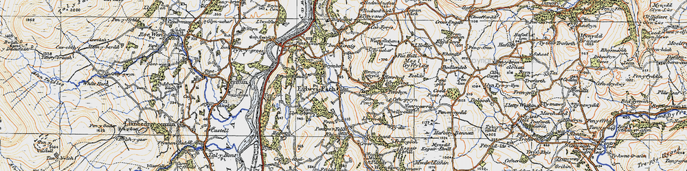 Old map of Eglwysbach in 1922