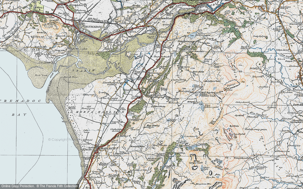 Old Map of Historic Map covering Afon Eisingrug in 1922