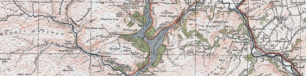Old map of Elan Valley in 1923