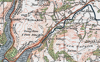Old map of Y Glog Fawr in 1923