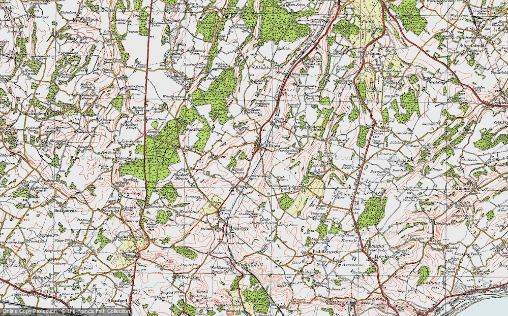 Old Map of Elham, 1920 in 1920